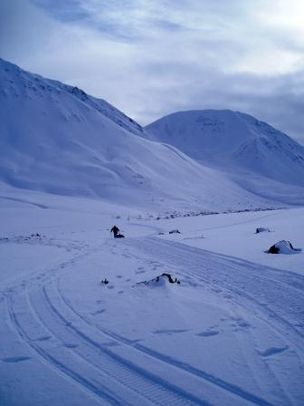 racer in the Alaska Range