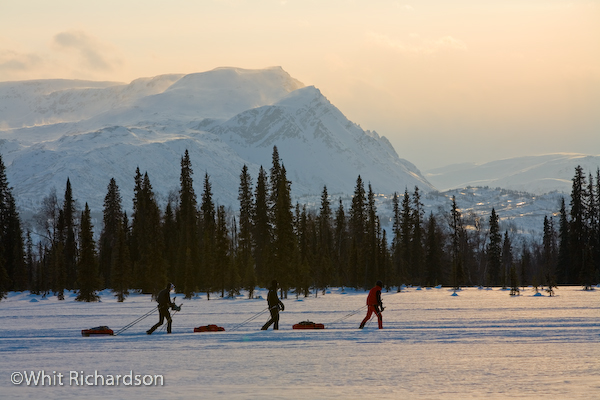 3 runners in front of Alaska Range